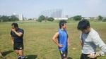 練習後の風景。みんな汗だくです。